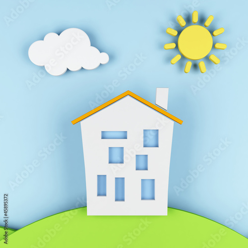 Tuinposter Lichtblauw stylized landscape with a house