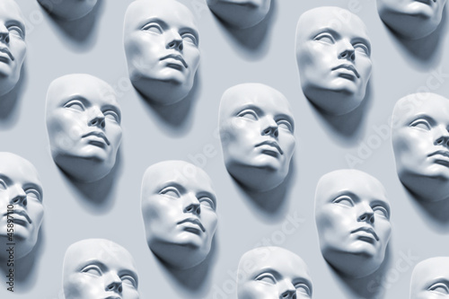 Anonyme Gesichter - Kunstausstellung Canvas Print