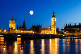 Fototapeta Big Ben - Full Moon above Big Ben and House of Parliament, London, United