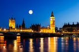 Fototapeta Big Ben - Full Moon above Big Ben and House of Parliament, London, United
