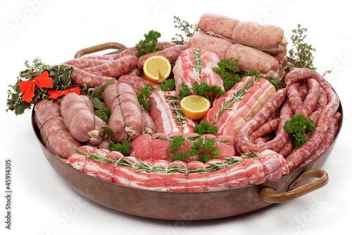 Keuken foto achterwand Vlees Carni crude per menù di Natale