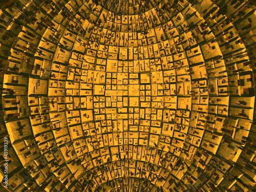 Plakat  paneles dentro de una estructura esférica