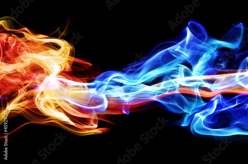 Canvas Prints Fire / Flame Red and blue smoke