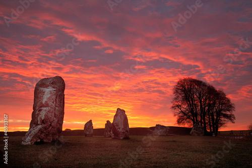 Staande foto Artistiek mon. Avebury Stone Circle and Henge at sunrise Wiltshire England UK