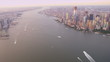 Aerial view Hudson river Lower Manhattan, Freedom Tower, New York, USA