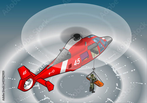 Garden Poster Military isometric red helicopter in flight in rescue