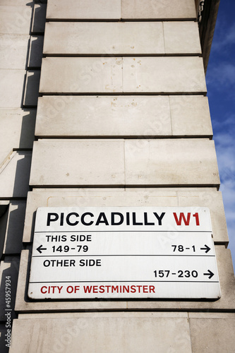 Photo  London Street Sign - Piccadilly