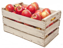 Apples In Wooden Box Isolated