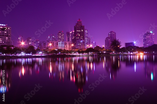 Aluminium Prints Violet Bangkok at night