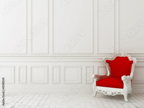 Fotografie, Obraz  Red chair against a white wall