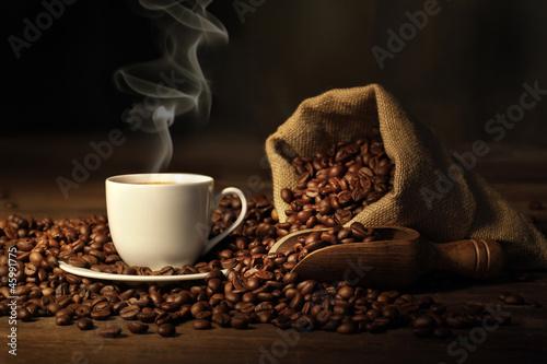 Wall Murals Cafe tazzina di caffè fumante