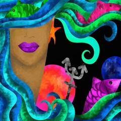 Naklejka segni zodiacali astratti - pesci