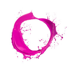 Colored paint splash ring isolated on white background