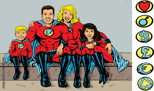 La pose en embrasure Super heros Super hero family