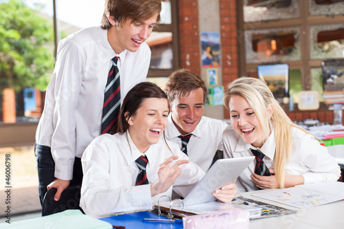 Fototapety, obrazy: group of happy high school students using tablet computer