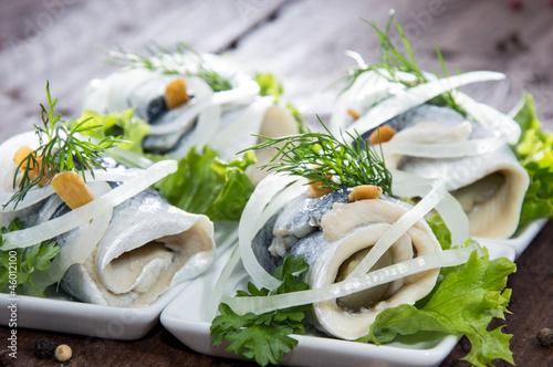 Fresh made Rollmop on a plate Tapéta, Fotótapéta