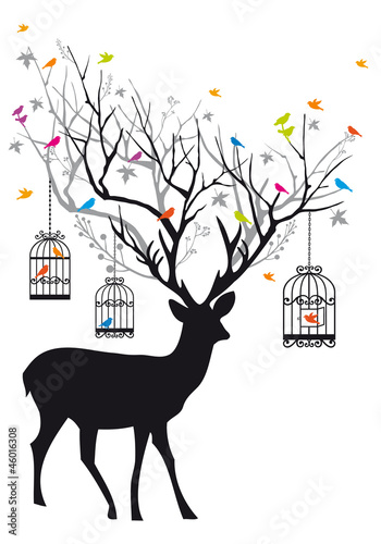 Poster Vogels in kooien Deer with birds and birdcages, vector