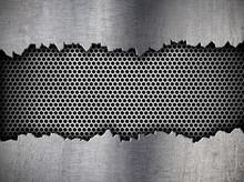 Silver Hexagon Metal Grate Bac...