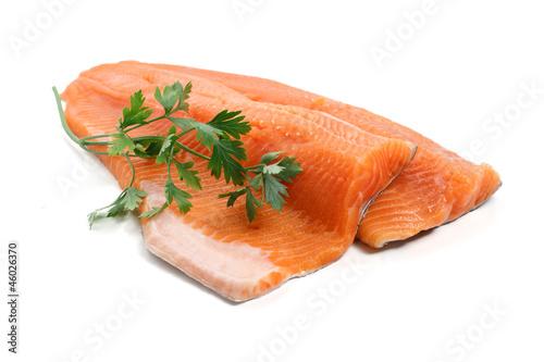Stampa su Tela filetto di trota salmonata - trout fillet with parsley