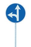 Mandatory straight or left turn ahead, traffic lane route - 46034715