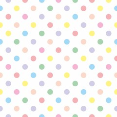 FototapetaSeamless vector pattern background pastel colorful polka dots