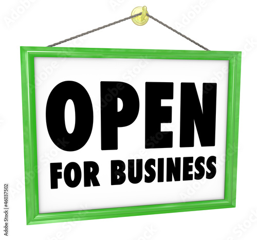 Fotografija  Open for Business Sign Hanging Store Window Door