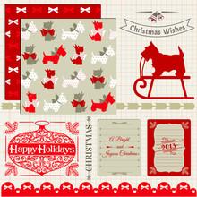 Scrapbook Design Elements - Vintage Christmas Dog - In Vector