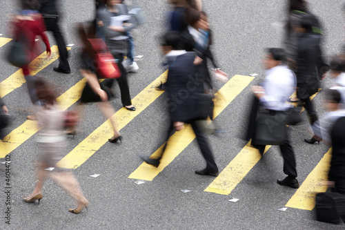 Photo  Overhead View Of Commuters Crossing Busy Hong Kong Street