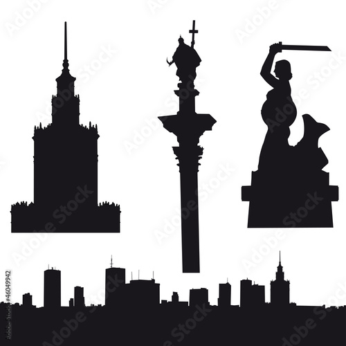 Fototapeta Silhouette of Warsaw in Poland obraz