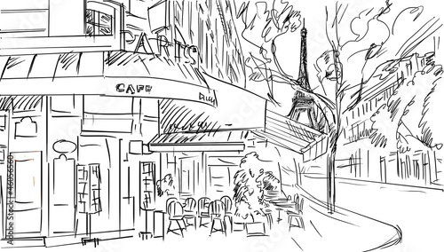 Foto op Canvas Illustratie Parijs Street in paris -sketch illustration