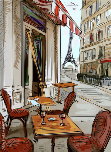 Spoed Foto op Canvas Drawn Street cafe Street in paris - illustration