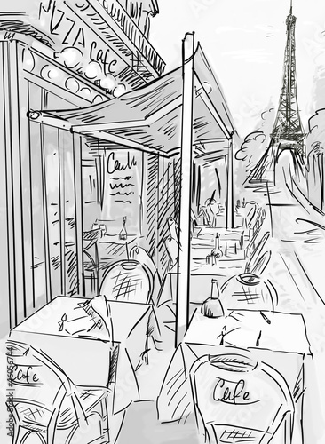 In de dag Geschilderd Parijs Paris street -sketch illustration