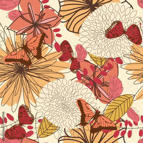 Tuinposter Abstract bloemen floral seamless pattern