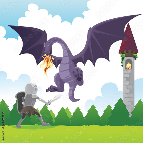 Poster de jardin Chevaliers Knight fighting dragon