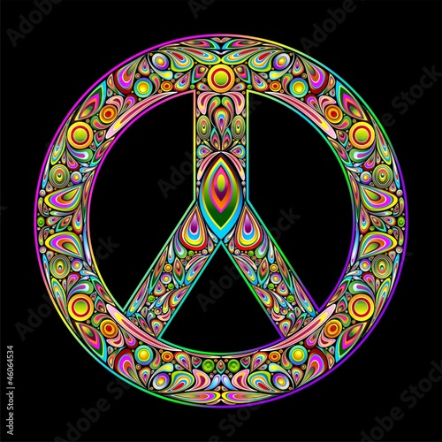 Peace Symbol Psychedelic Art Design-Simbolo Pace Psichedelico - 46064534