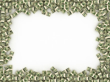 Dollars Banknotes Frame. Money Background