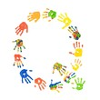 Buchstabe Q aus bunten Kinderhänden (Foto-Collage)
