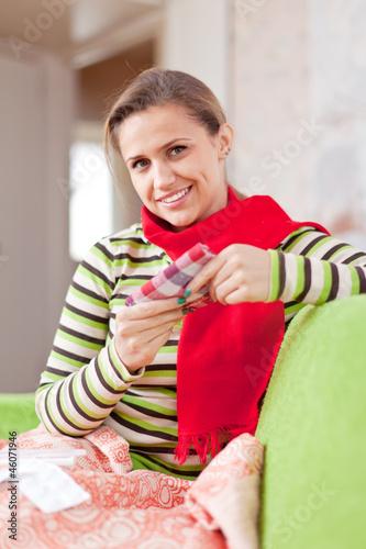 Photo  sick woman uses handkerchief