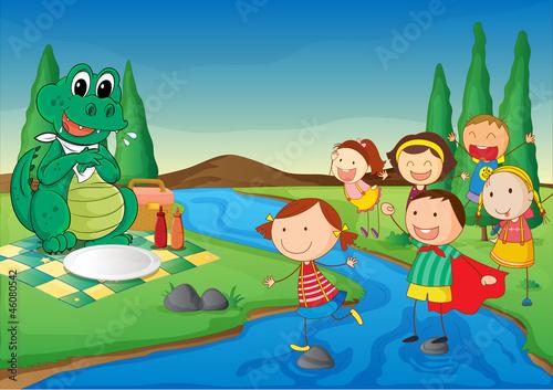 kids and crocodile at picnic