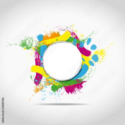 Valokuva  tâches multicolores sur fond blanc avec rond central