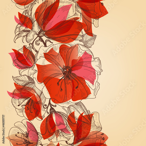 Deurstickers Abstract bloemen Red flowers seamless pattern in retro style