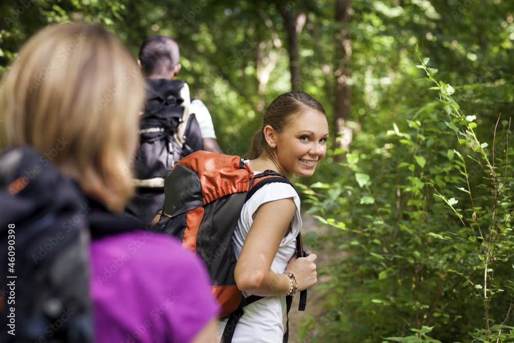 Fototapety, obrazy: people with backpack doing trekking in wood