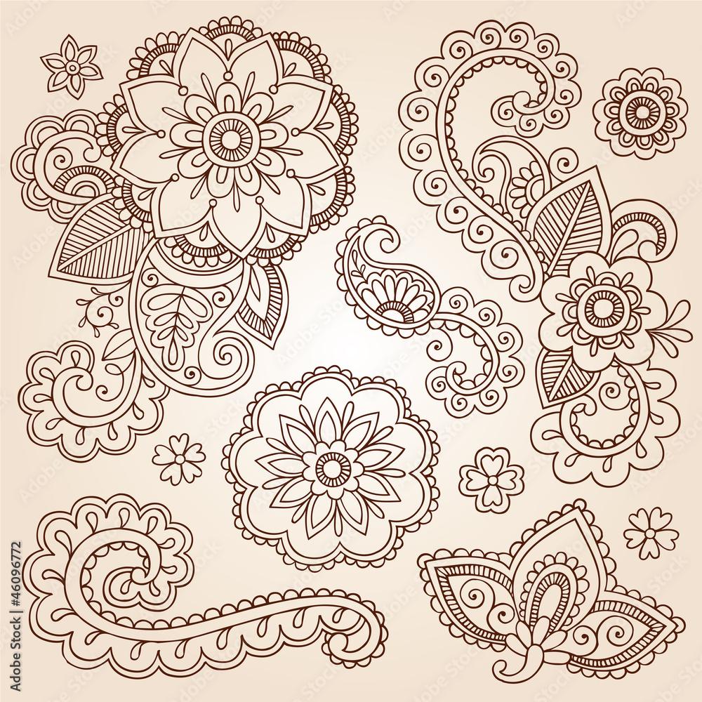 Henna Paisley Mandala Tattoo Doodle Vector Design Elements Set Foto ...