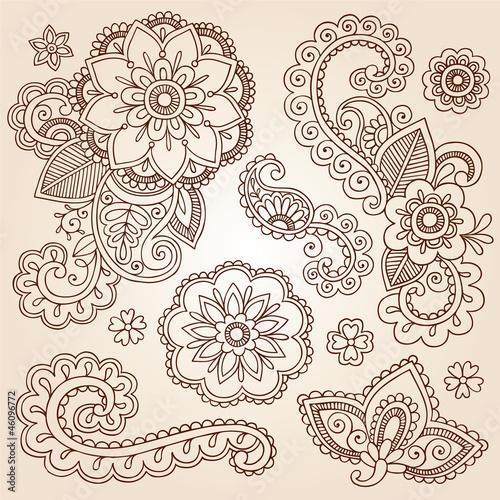 Henna Paisley Mandala Tattoo Doodle Vector Design Elements Set - Buy ...
