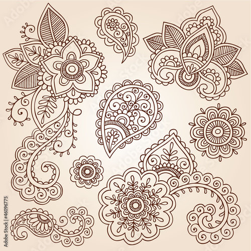 Henna Paisley Tattoo Mandala Doodles Vector Design Elements Buy