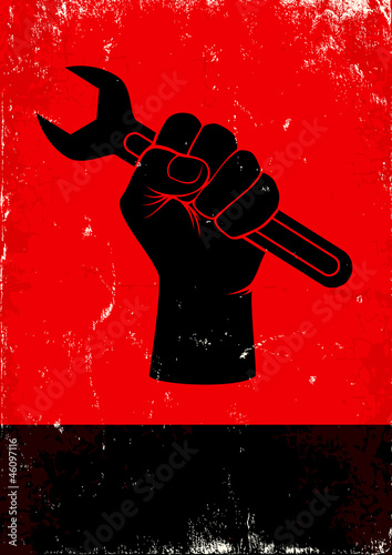 Acrylic Prints Red, black, white wrench
