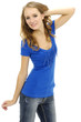 Stylish woman in blue jeans posing against white background