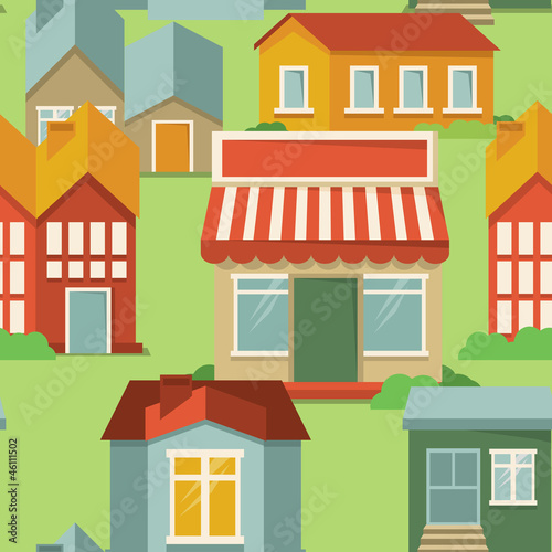 Poster Op straat seamless pattern with cartoon houses