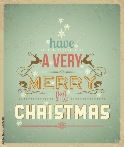 Papiers peints Affiche vintage Typography Christmas Greeting Card.