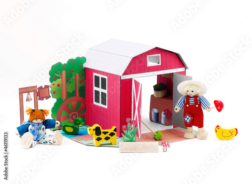 Photo  Paper doll barn house western style with farmer and there pets